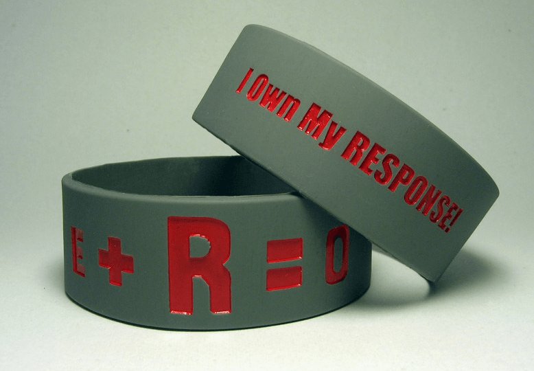 E+R=O Wristbands in Ohio State Buckeyes colors